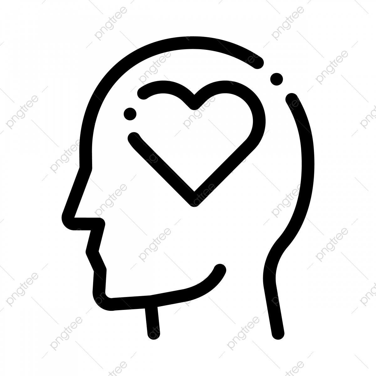 pngtree heart love symbol in man silhouette mind vector png image 5140966