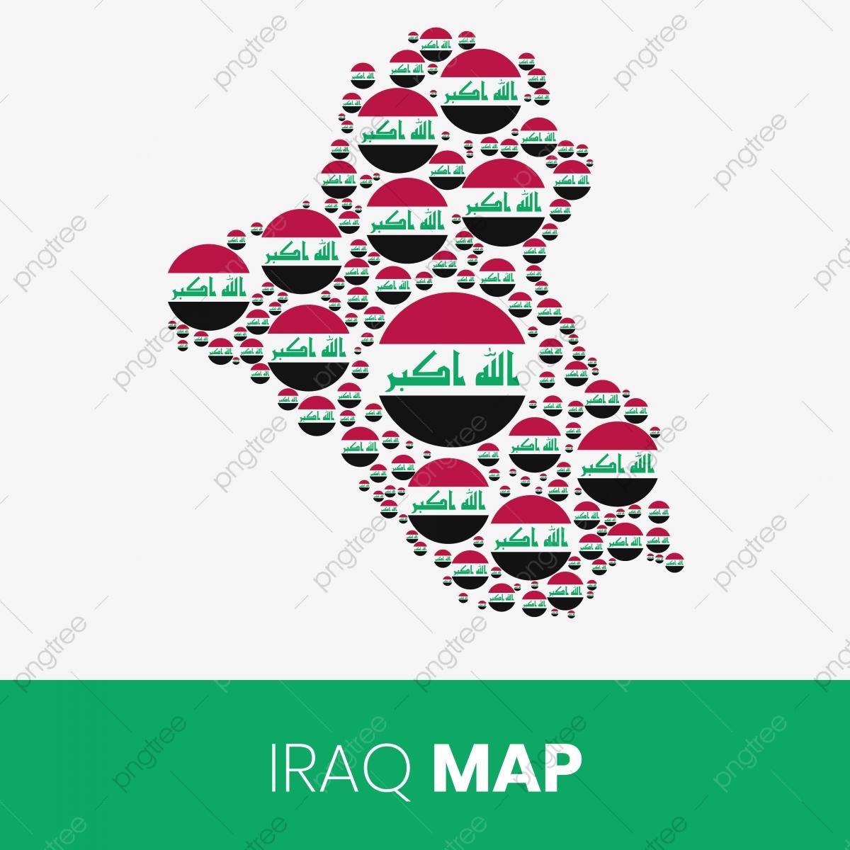 خريطة العراق مملوءة بدوائر على شكل العلم خريطة العراق مع العلم