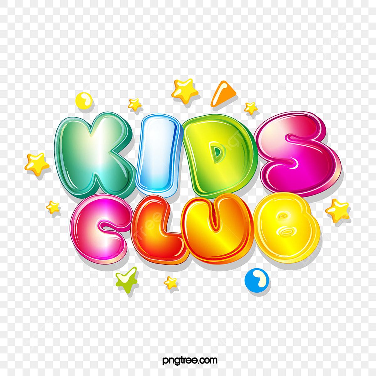 Kids Club Cute Bubble Jelly Stereo Gradient Word Art Children S