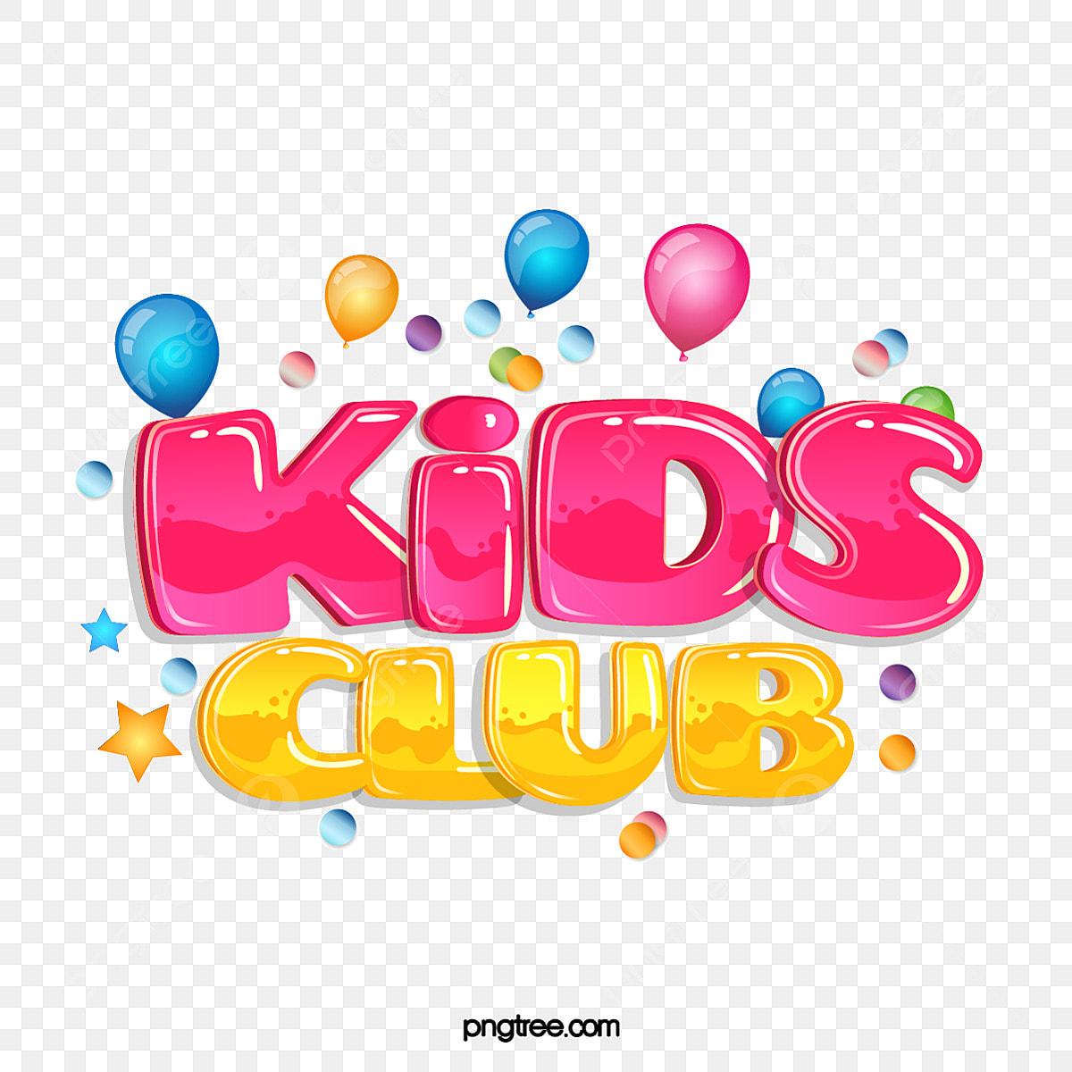 Kids Club Cute Gradient Creative Jelly Gradient Stereo Word Art