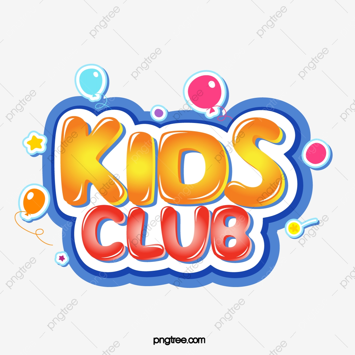Kids Club Cute Jelly Bubbles Stereo Gradient Word Art Children S