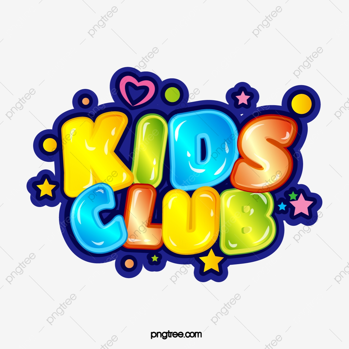 Kids Club Cute Jelly Effect Bubble Stereo Gradient Color Art Word