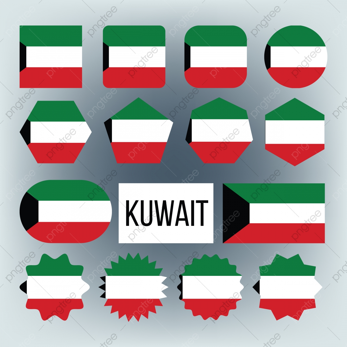 Kuwait Flag Collection Figure Icons Set Vector Kuwait Flag Collection Png And Vector With Transparent Background For Free Download