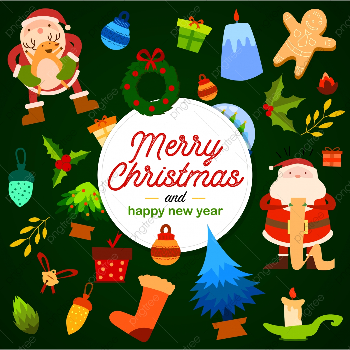 Merry Christmas Happy New Year Card Graphics Background Ball Card Png And Vector With Transparent Background For Free Download