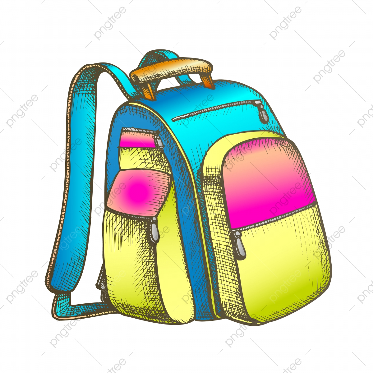 Modern Tourist Backpack Suitcase Color Vector Backpack Clipart Backpack Suitcase Png And Vector With Transparent Background For Free Download