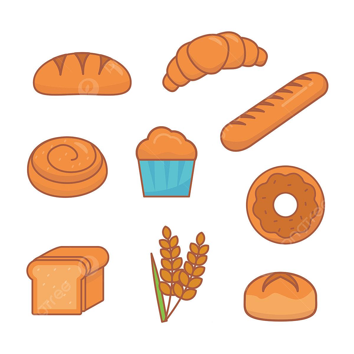 مجموعة من الرسوم التوضيحية ذات الصلة بالخبز المعزولة على خلفية بيضاء مثل خبز دونات كب كيك وغيرها ناقلات مخبز الخبز Png والمتجهات للتحميل مجانا