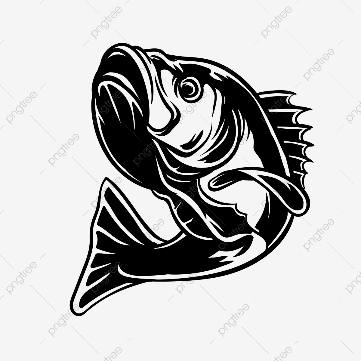 Silhouette Bass Fish Vector Illustration For Fishing Lover Bass Fish Lure Png And Vector With Transparent Background For Free Download