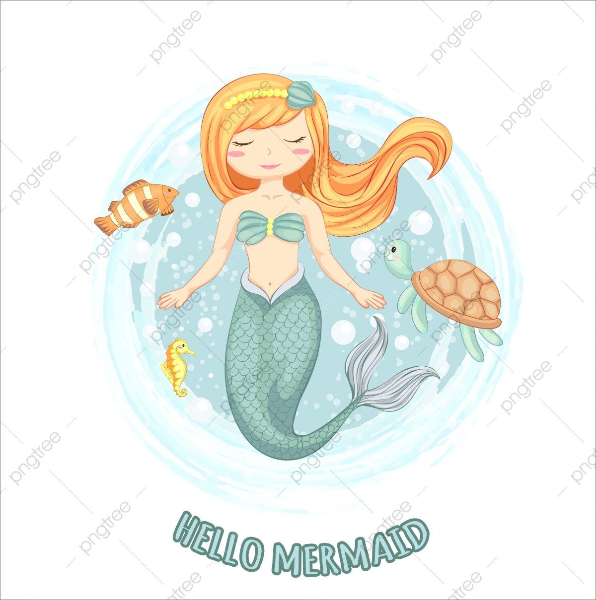 Vector Illustration Of Cute Mermaid With Turtle Sea Horse And Small Fish Hand Drawn Small Drawing Crab Png And Vector With Transparent Background For Free Download