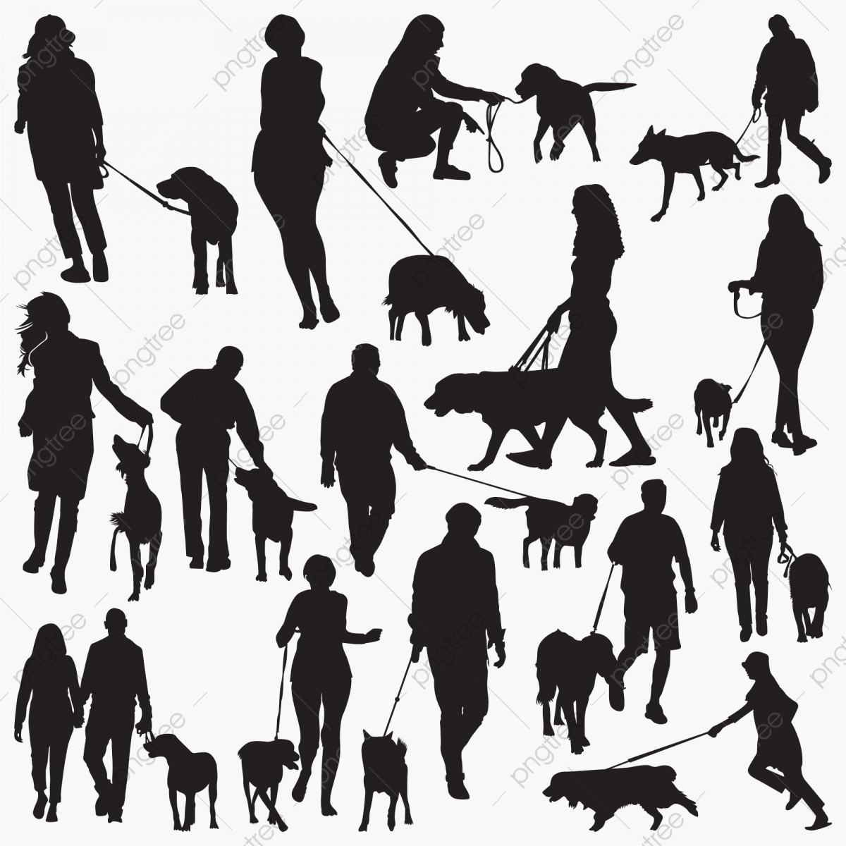 walk with dog silhouettes 50s 60s animal png and vector with transparent background for free download https pngtree com freepng walk with dog silhouettes 5099563 html