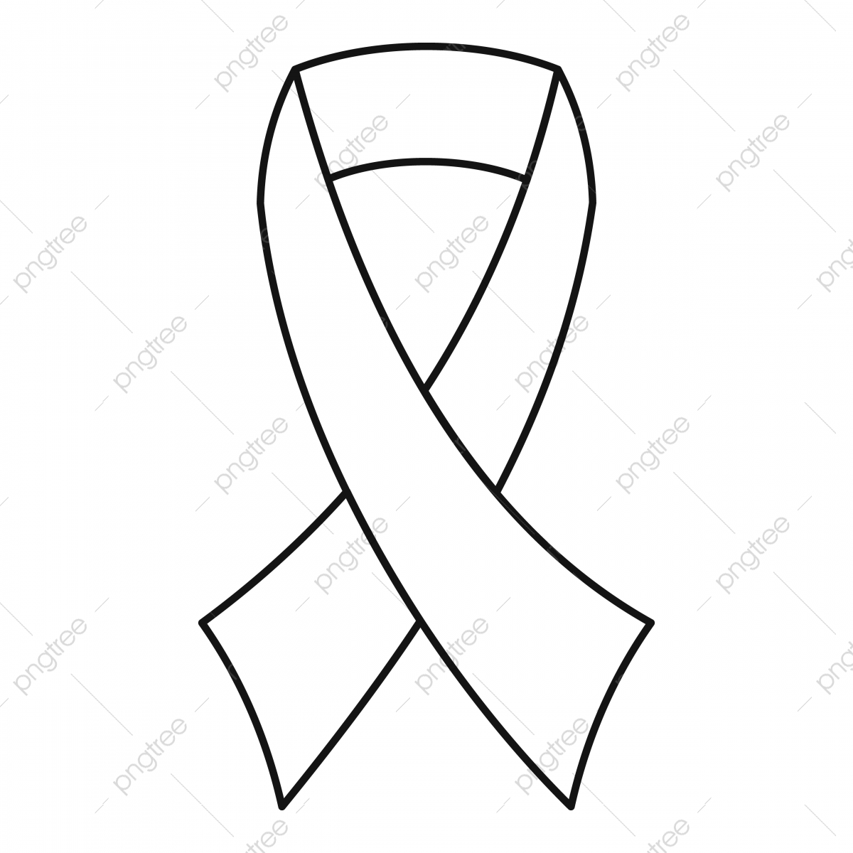 Breast Cancer Awareness Ribbon Icon Outline Style Style Icons