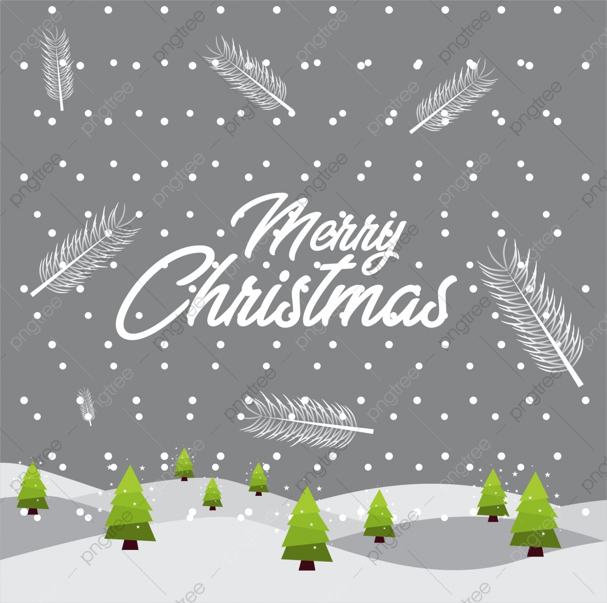 Flat Beautiful Illustration Merry Christmas Greeting Card