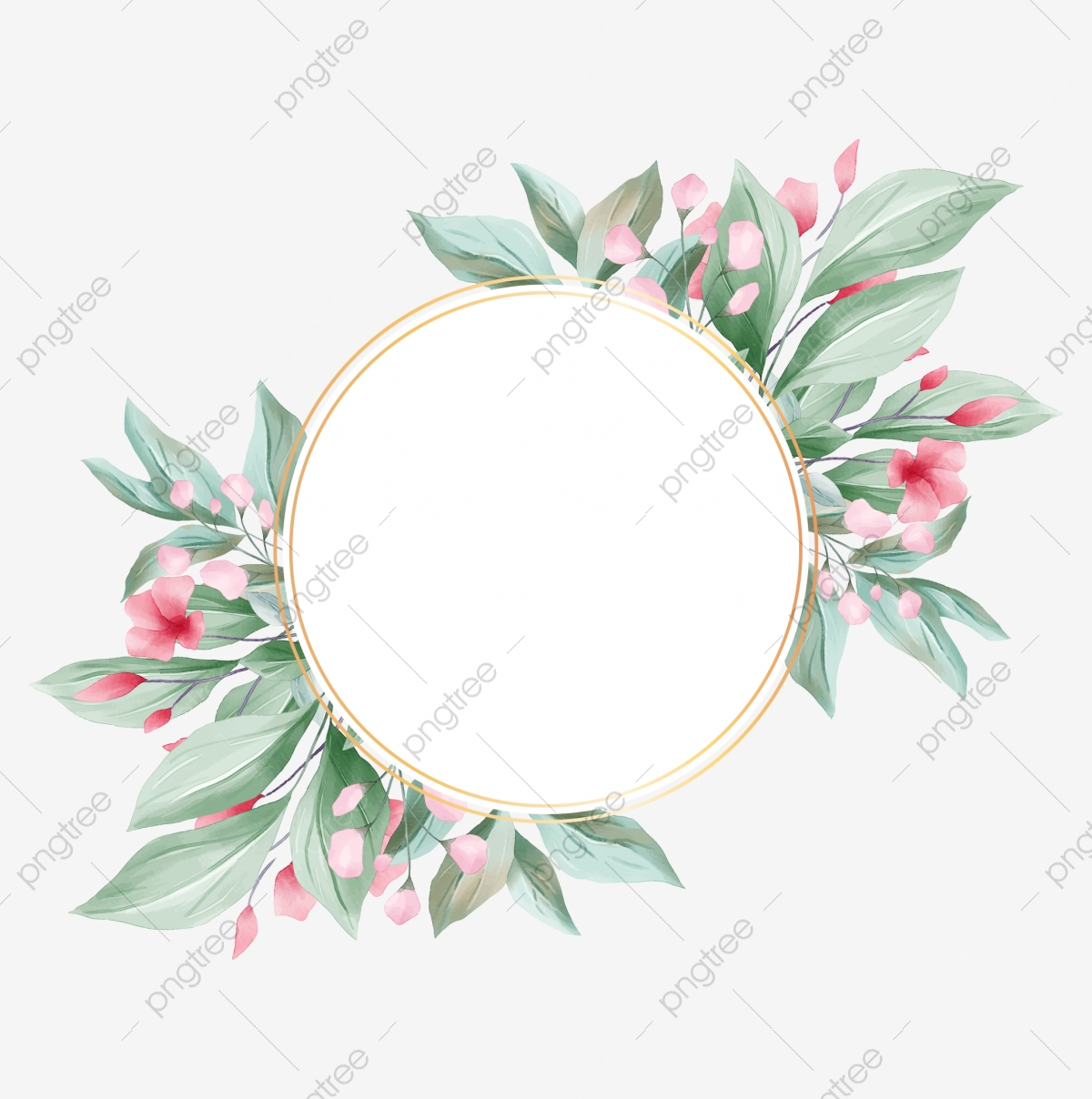 Romantic Round Floral Frame With Elegant Leaves, Wedding ...