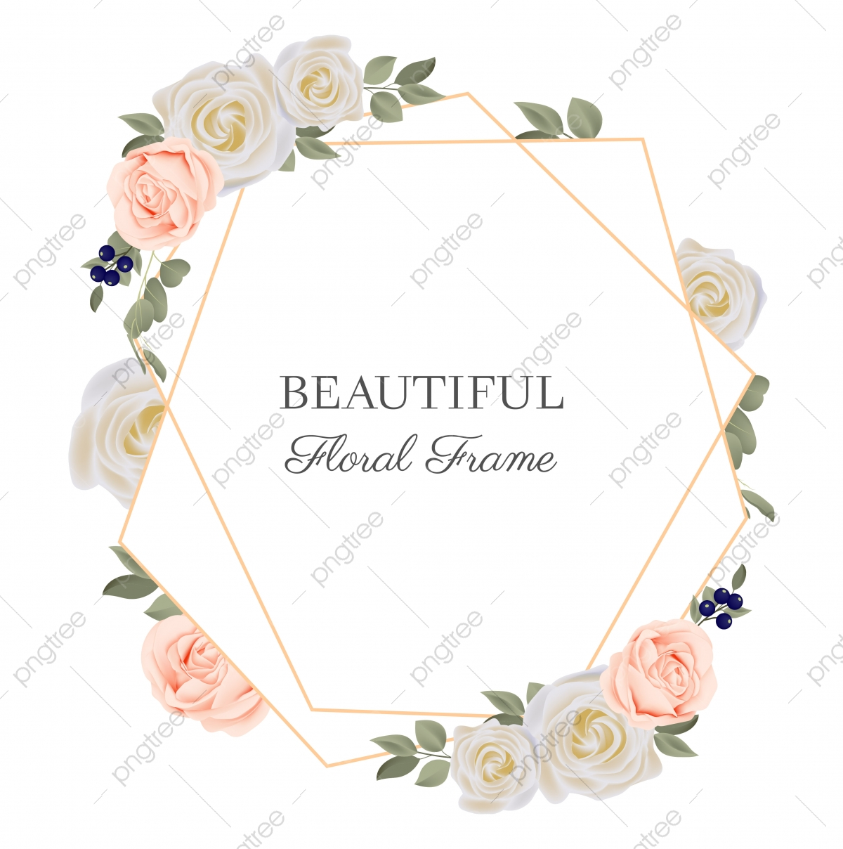 Rustic Rose Floral Frame With Golden Geometric Line Gold Rustic