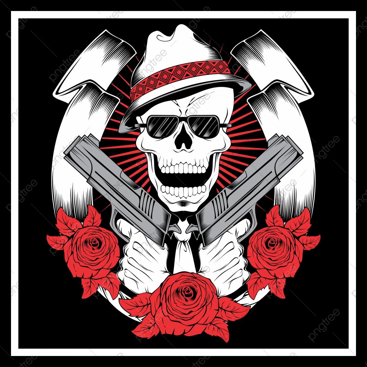 Skull Mafia Gangster Wearing Bandana With Gun An Roses ...
