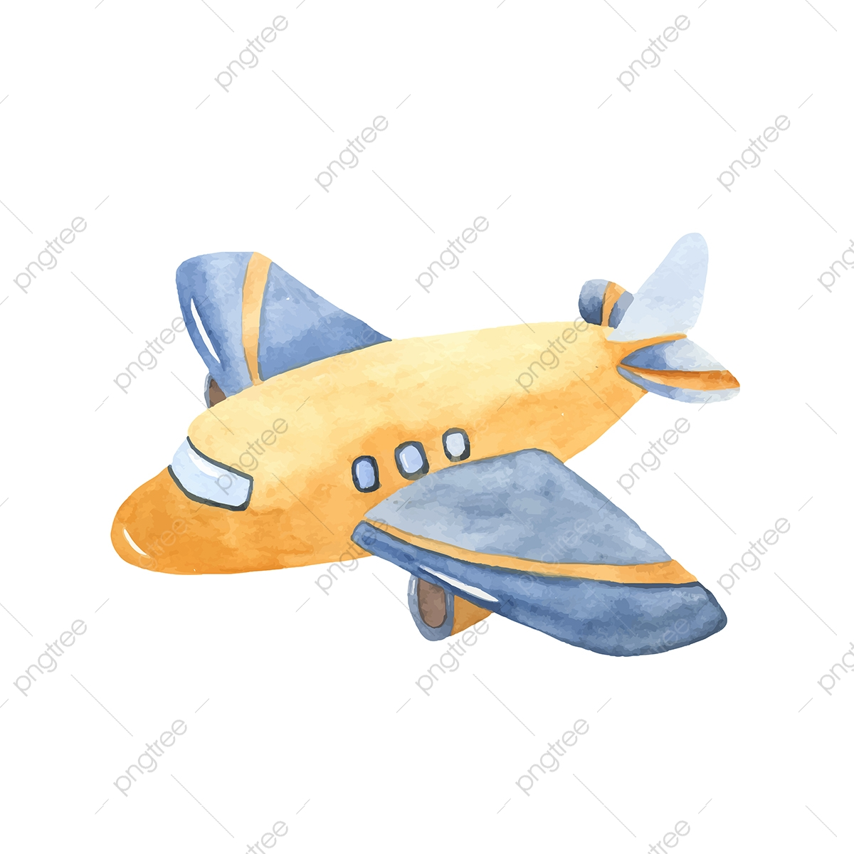 Watercolor Cute Cartoon Airplane Clipart Air Aircraft Airplane Png And Vector With Transparent Background For Free Download