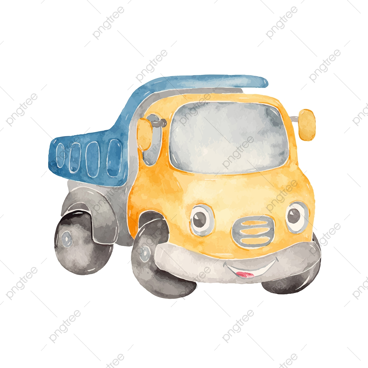 Watercolor Cute Cartoon Truck Clipart Auto Automobile Baby Png And Vector With Transparent Background For Free Download