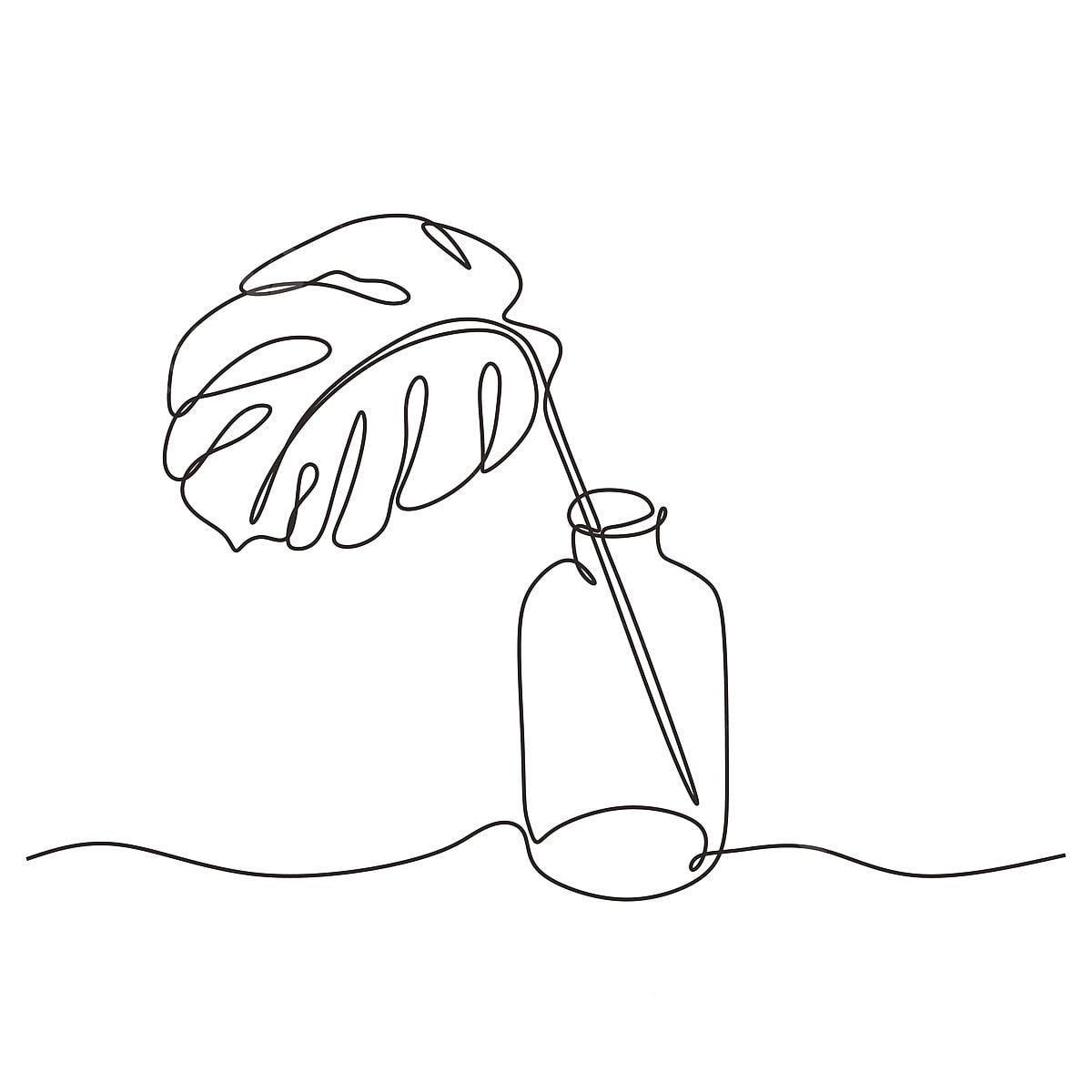 Lukisan Garis Berterusan Daun Monstera Pada Botol Kaca Tropika