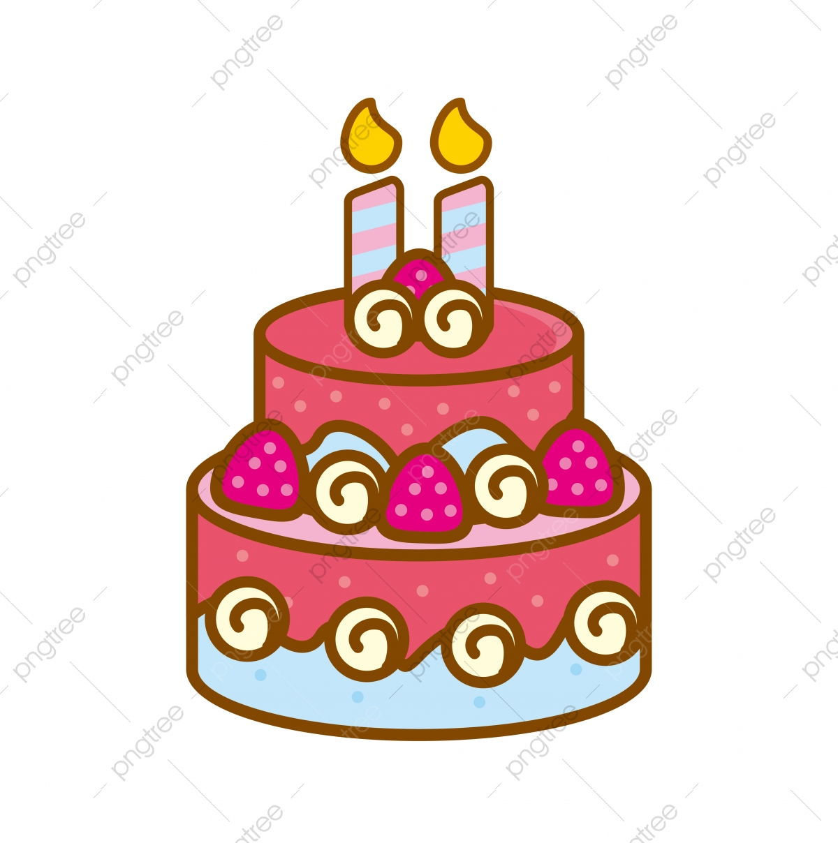 Admirable Cute Birthday Cake Vector Illustration With Pink Color Isolated On Funny Birthday Cards Online Eattedamsfinfo