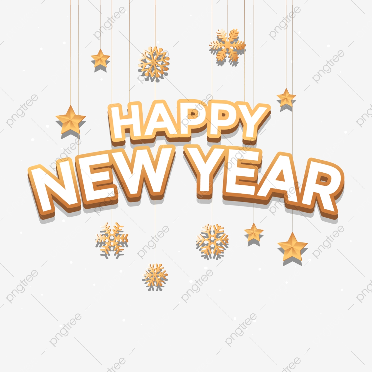 Happy New Year Text Art Artistic Background Png And Vector With Transparent Background For Free Download
