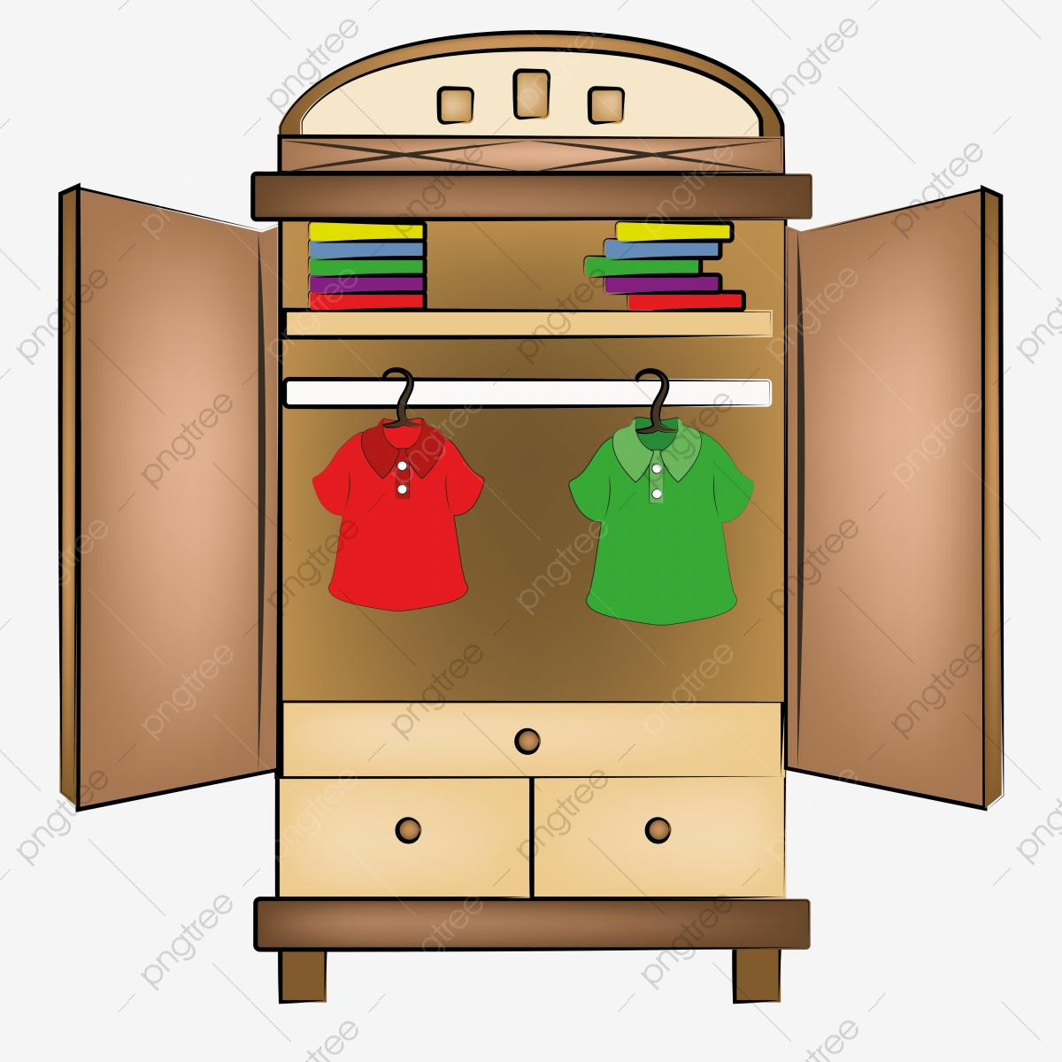 Open Cupboard Clip Art: Open Wardrobe With Clothes, Wardrobe, Open, Closet PNG And