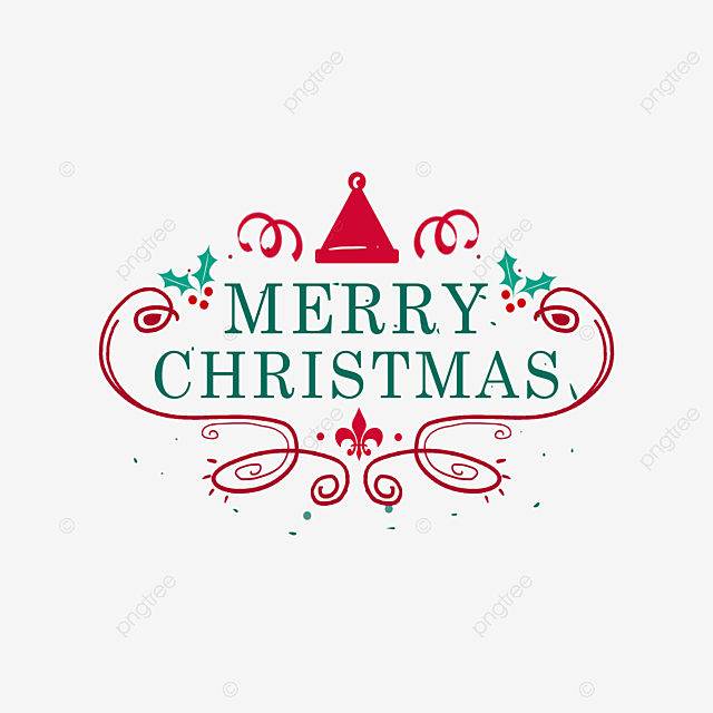 European Style Hand Drawn Merry Christmas Art Word Merry