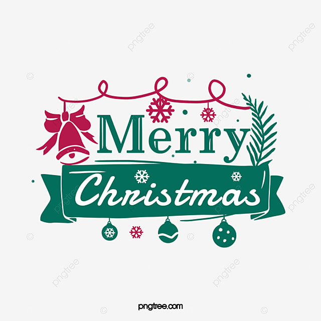 Green Creative Hand Drawn Merry Christmas Art Word Merry
