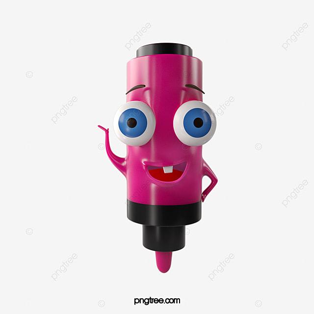 pink marker pen villain emoji stationery element