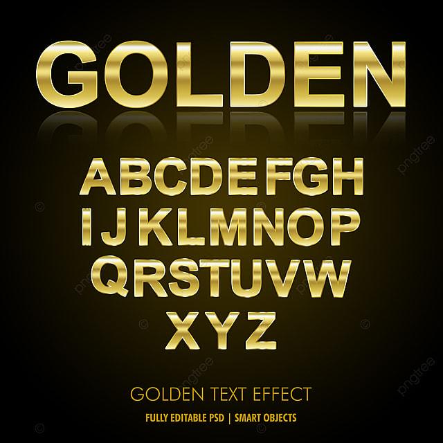 Luxury Golden Text Effect A To Z Editable Alphabet Psd
