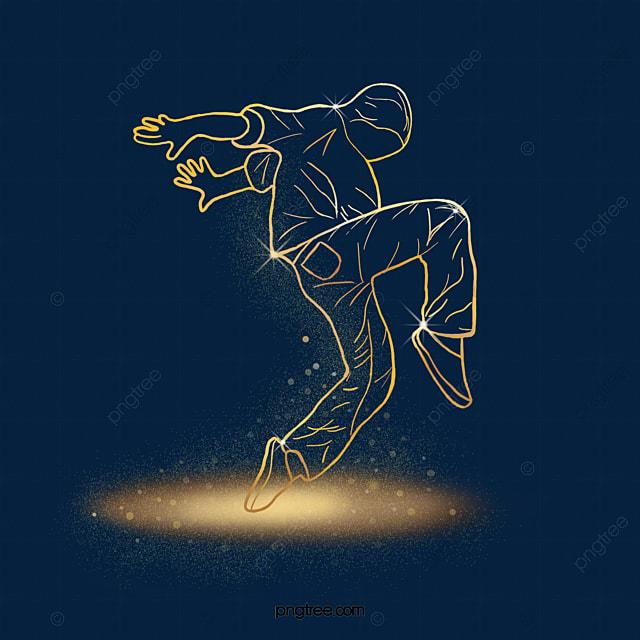 dance action golden light effect character