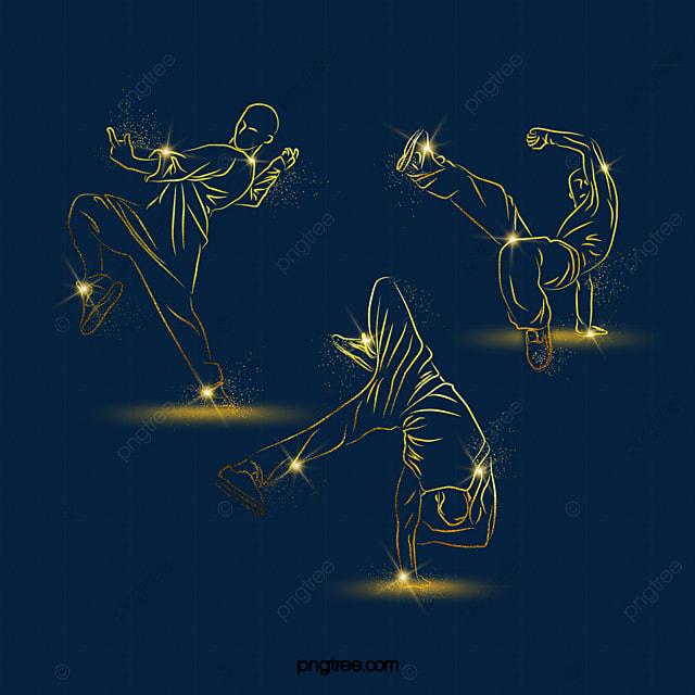 golden light effect street dance character