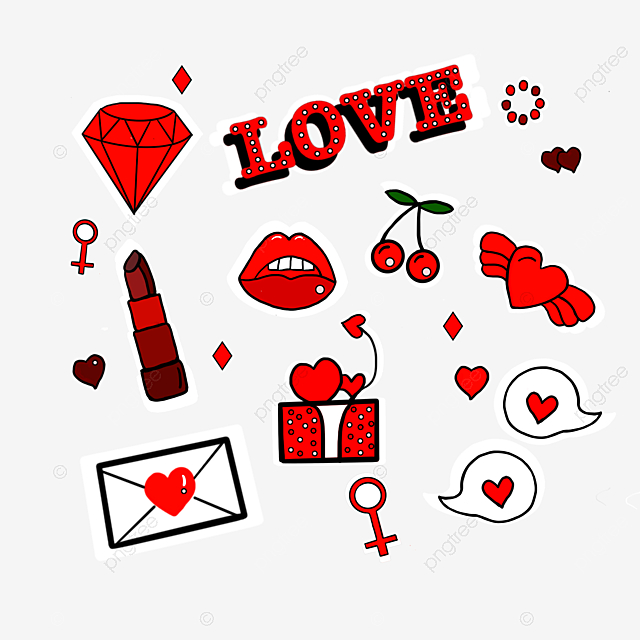 hand drawn love sexy red lips stickers set illustration
