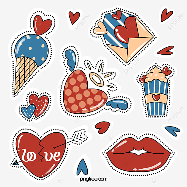 hand drawn style love red lips sticker elements