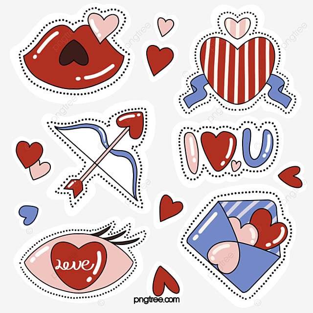 hand drawn style red lips love stickers