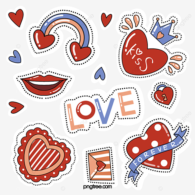 simple red love red lips sticker