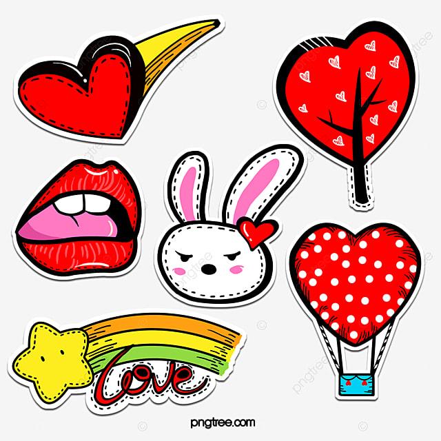 cute cartoon red love stickers
