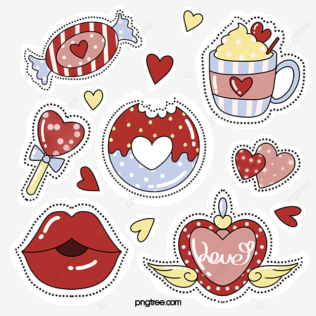cute style love red lips sticker element