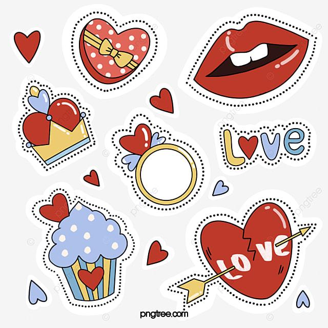 cute style red lips love sticker elements