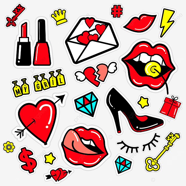 love red lips envelope set stickers