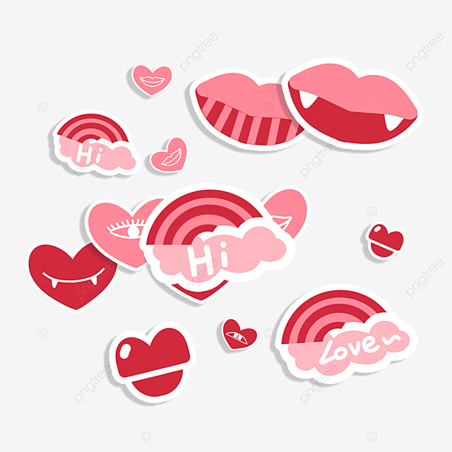 pink red lips love stickers