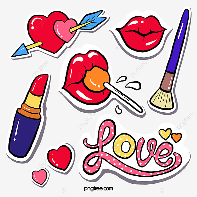 red lips love cosmetics stickers