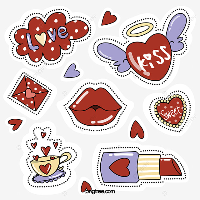 simple style red lips love stickers