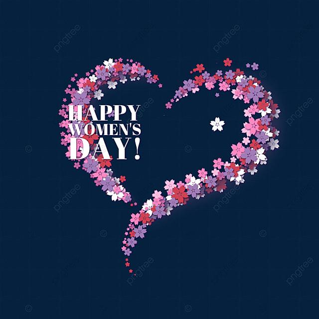 hand drawn happy romantic petals women s day
