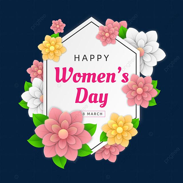 hexagon beautiful fresh women s day theme floral card