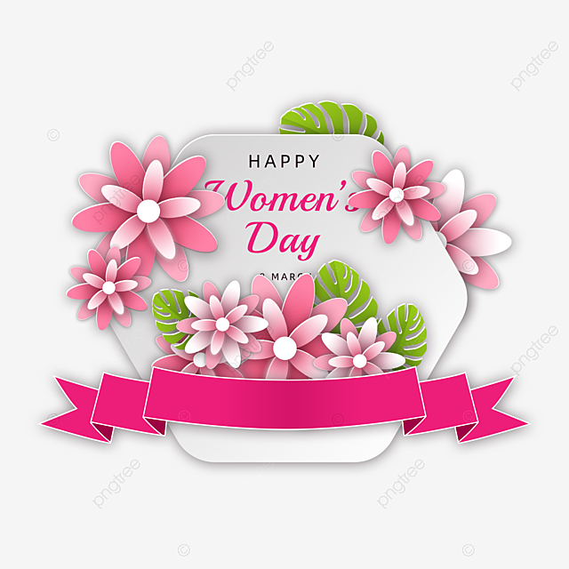 romantic women s day floral streamer card