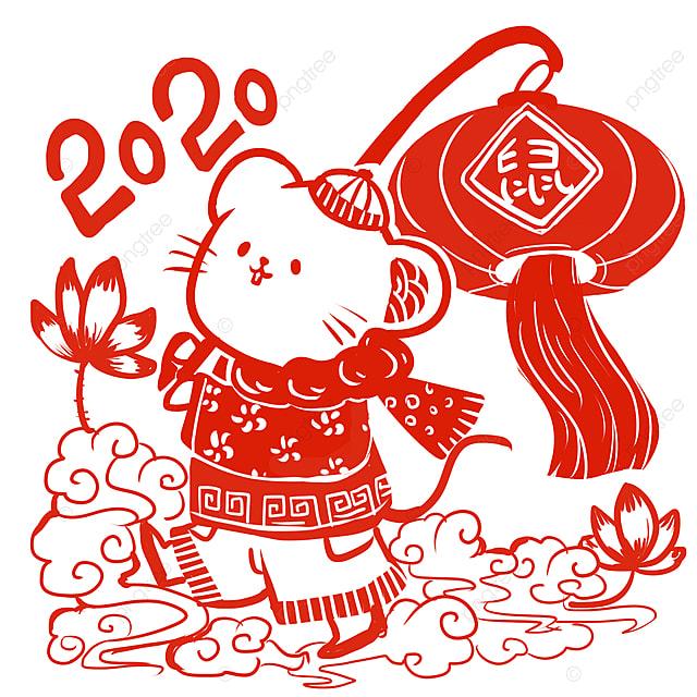 2020 rat new year paper cut wind lantern elements