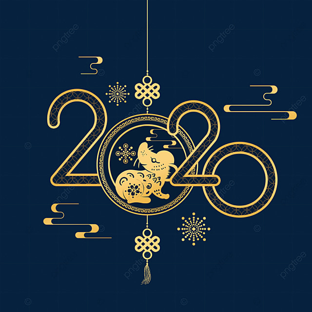 hand drawn happy new year of the mouse 2020
