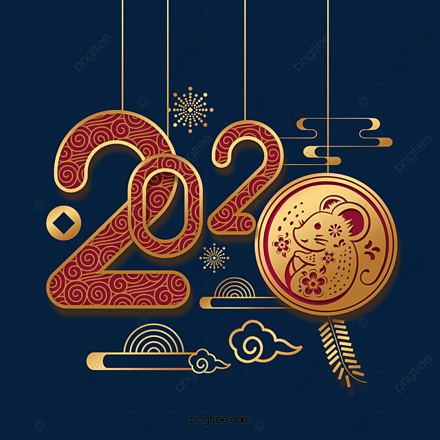 year of the rat 2020 font design