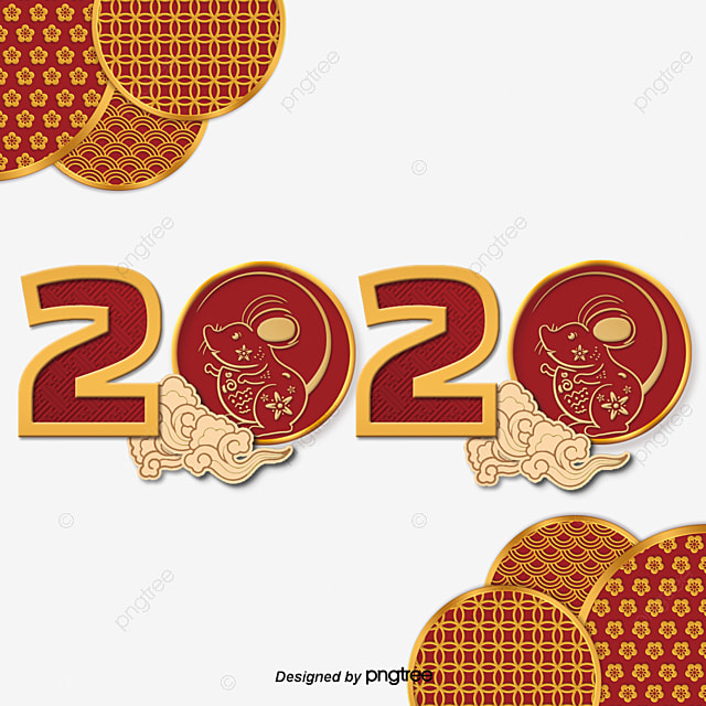 2020 chinese new year cartoon golden mouse traditional xiangyun decoration