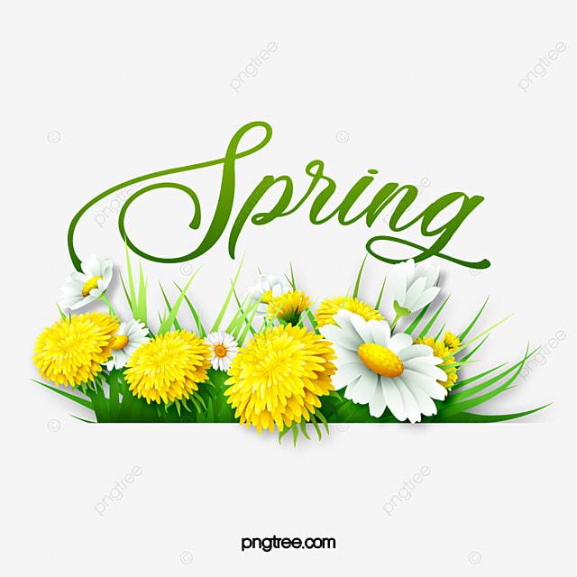 green spring flower border