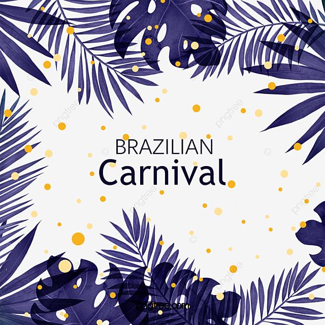 blue brazilian carnival tropical plants border